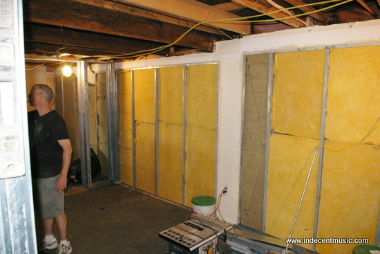 Exterior walls filled with 703 fiberglass insulation
