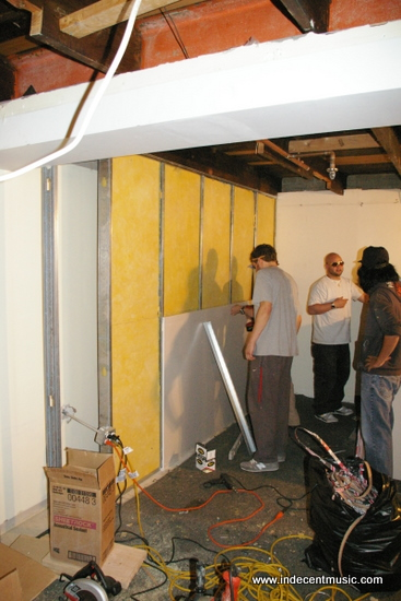 Placing the first piece of gypsum board