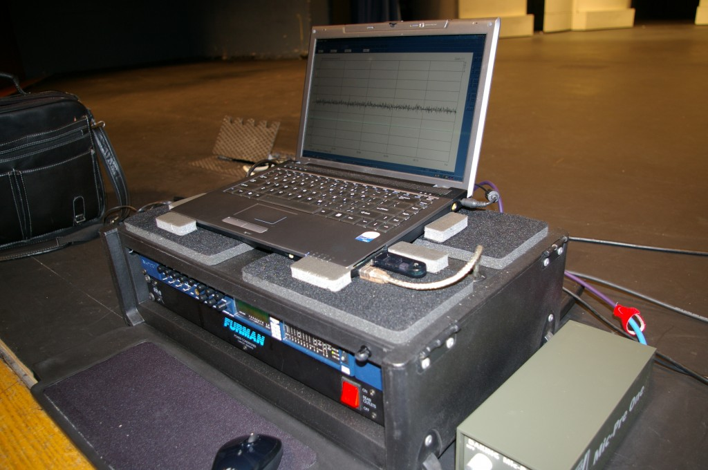 The test computer, audio interface and microphone preamplifier